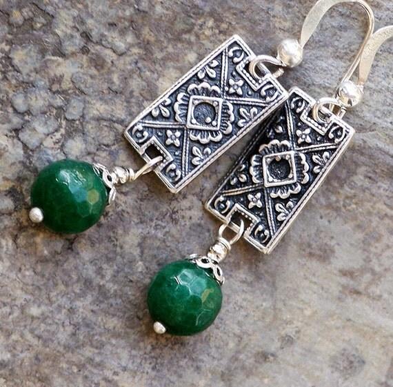 Southwest Silver Earrings Green Stone Earrings Jade Earrings Handmade Earrings Dangly Earrings Global Earrings