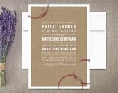 Winery Bridal Shower Bachelorette Invitations Wine Stains