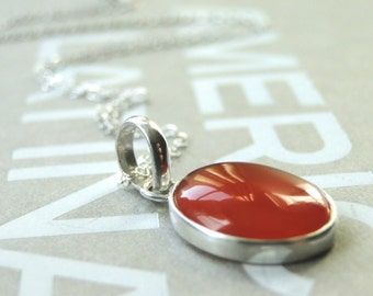 Necklace, Sterling Carnelian Centerpiece Wrapped in Sterling Silver, Brilliant Shine, Necklace, Gift for Her, Gift Box