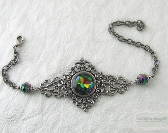 FANTASIA .:. Enchanted Faerie Realm Vintage Filigree Rainbow Vitrail Bracelet