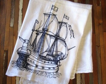 Tea Towel - Screen Printed Flour Sack Towel - Absorbent Kitchen Towel - Nautical Pirate Ship - Eco Friendly Dish Towel - Classic Flour Sack