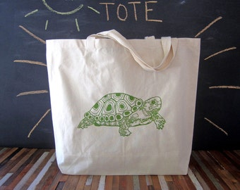 Canvas Tote - Screen Printed Recycled Cotton Grocery Bag - Large Tote Bag - Market Tote - Reusable and Washable - Eco Friendly - Turtle