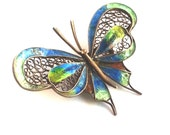 Antique Filigree Gold Washed & Enamel Butterfly