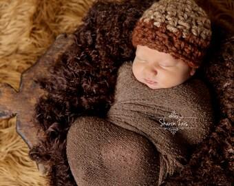 SET Beige Brown Newborn Hat & Stretch Knit Wrap Photography Prop