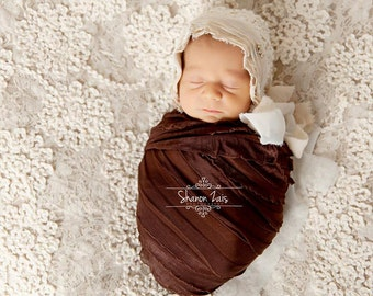 Ruffle Stretch Knit Wrap in Chocolate Brown Newborn Photography