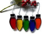Stained Glass Christmas Lights - Set of 5 Rainbow Color Suncatchers Onaments Holiday Decoration