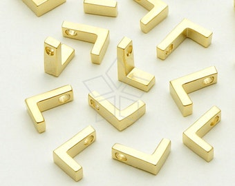 IN-024-MG / 2 Pcs - Initial Tiny Pendant, Alphabet, Capital letter, Upper case, L, Matte Gold Plated over Brass / 5mm x 7mm