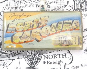 Greetings from NORTH CAROLINA Vintage Large Letter Postcard Pendant