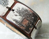 Seasons No. 2, Fine Silver and Leather Cuff, Tree Bracelet, Handmade Artisan Original by SilverWishes