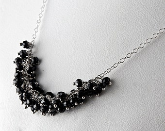 Black Garnet Cluster Necklace