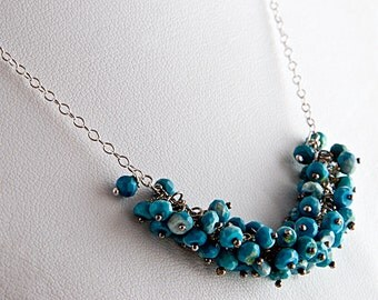 Turquoise Cluster Necklace