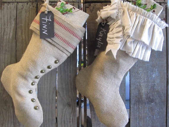 Christmas Burlap His & Her Stockings