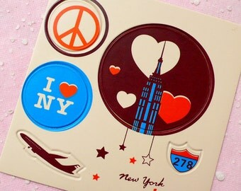 Travel Leather Sticker Set (New York USA) Suitcase Luggage Cell Phone Deco Scrapbooking Packaging Party Diary Deco Collage Home Decor S105