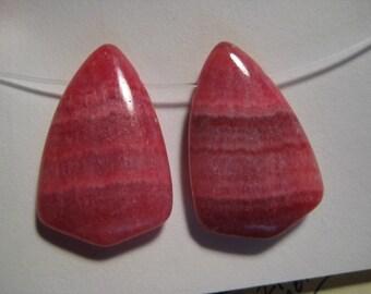 Rhodochrosite beads  ...... 2 pieces ........         25 x 16 x 5 mm  ................      a1705