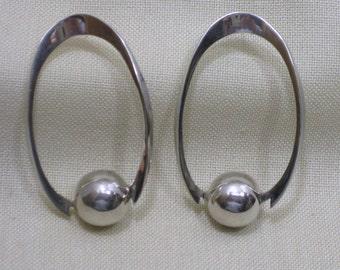 Large Oval Sterling Earrings Pierced