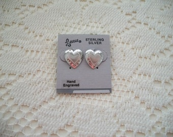Beau Sterling Silver Hand Engraved Heart Earrings NOS