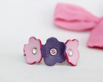 Kids Collection, Purple and Pink Flowers  Bracelet,Genuine Leather  ,Swarowski Crystals  Bracelet
