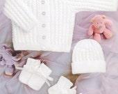 BHKC 35 Vintage baby newborn cardigan set knitting pattern (4ply)