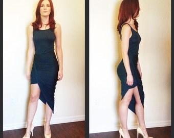 Dark Teal Asymmetrical Jersey Dress
