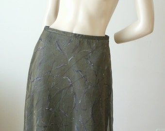 90s vintage Cynthia Steffe dark olive green forest print poly sheer layer maxi midi skirt lined with slit 6