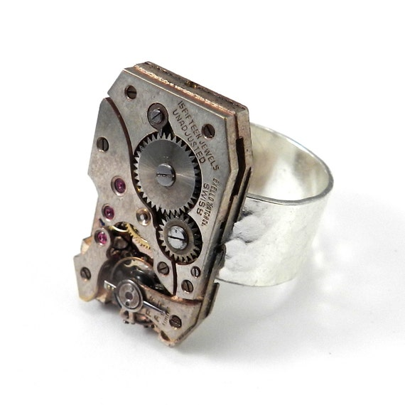 STEAMPUNK Ring Rectangle Mechanical Watch Movement Silver Adjustable Cocktail Ring