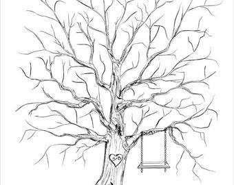 Wedding Thumb Tree Guest Book Alternative, Guestbook Wedding Tree Fingerprint Guestbook Unique Original Wedding Keepsake Custom Wedding Gift