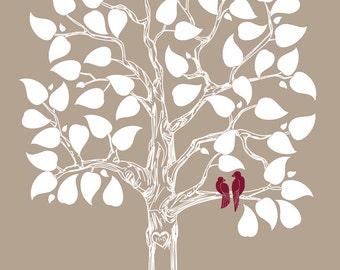Custom Wedding Gift Guestbook Alternative Wedding Tree, Guest book alternative Love Birds Wedding Theme Rustic Wedding Style