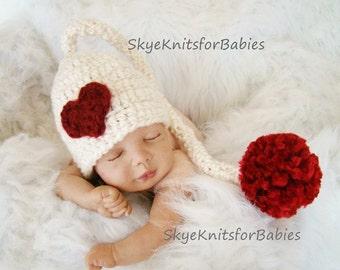 Crochet Valentine's Baby Hat, Newborn Elf Hat, Baby Elf Hat, Valentine's newborn hats, Baby Girl Hat, Baby Boy Hat, Newborn Photography Prop
