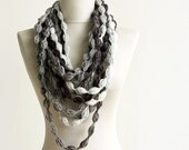 Black Friday Cyber Monday Bubble chain scarf necklace Infinity crochet scarf Loop scarves Grey white black multicolor