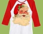 Retro Christmas Santa Raglan shirt by ChiTownBoutique.etsy