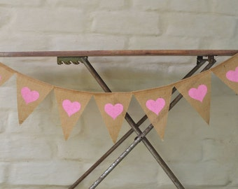 JUST HEARTS by the METRE Hessian Burlap Nursery Children Wedding Engagement Celebration Party Banner Bunting Decoration Birthday Baby shower