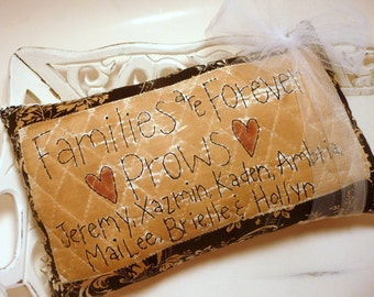 """Shabby Stitched Personalized  """"Families are Forever"""" Pillow"""