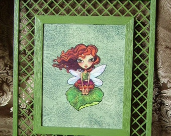 Amber, Moss Fairy I, upcycled wall decor, Moss green, wall hanging