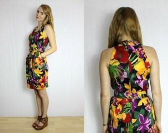 Vintage Tropical print tulip skirt dress
