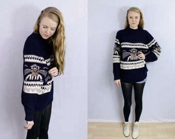 Vintage Navy totem bird oversized sweater