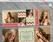 INSTANT DOWNLOAD - Coral and Mint Trifold Graduation Announcement- custom photo templates on WHCC Specs