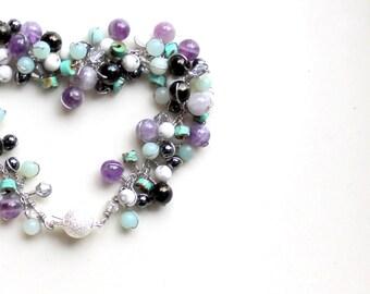Custom gemstone bracelet wire wrapped gift stardust clasp  lignite (jet) / howlite / amethyst / amazonite / hemalyke / magnesite / swarovski