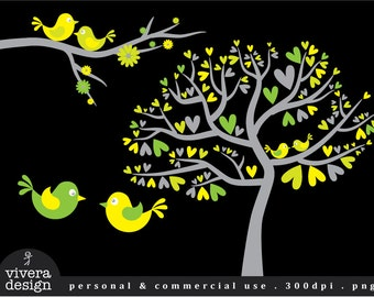 Love Birds in Bright Yellow, Lime Green, and Grey - Digital Clip Art