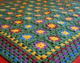 Granny Square Blanket Posy Crochet Afghan Floral