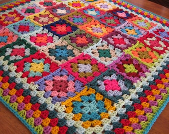 Granny Squares Afghan Blanket Crochet Wonderful Kaleidoscope Colours
