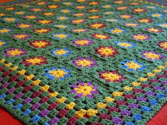 Crochet Blanket Apple Green Posy Floral Crochet Blanket Afghan Throw
