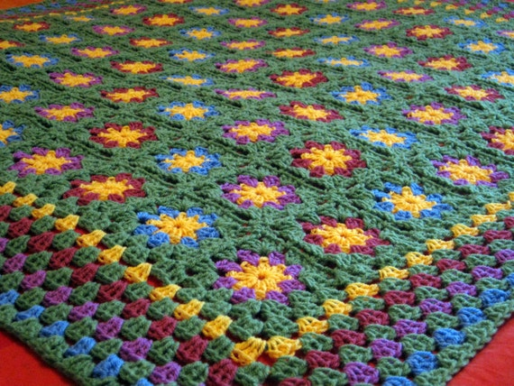 Black Friday Sale 20% Off Crochet Blanket Posy Floral Granny Squares