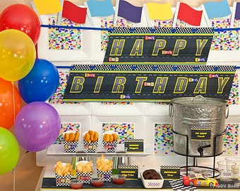 Stock Car Collection : Print at Home Race Car Birthday Decorations | Race Track Birthday Banner | Speedway | Racing | Cars | DIY Printable
