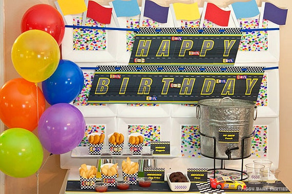 Stock Car Collection Print at Home Race Car Birthday Decorations