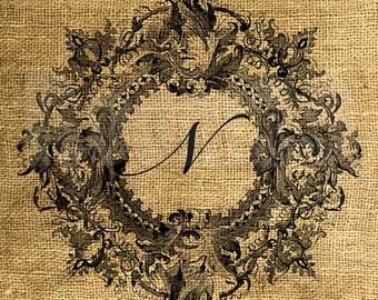 Vintage Wreath Framed Letter N - Download and Print - Image Transfer - Digital Sheet by Room29 - Sheet no. 094N