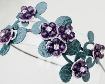 Purple headband leather flowers crystal beads teal leaves on black metal headband woodland wedding garden wedding bridal tiara prom