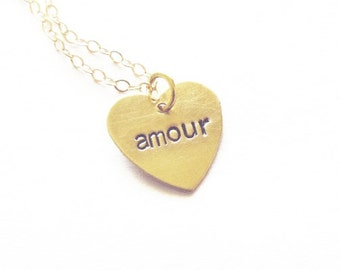 Gold French Necklace Paris Jewelry Amour Charm France Pendant Small Heart Love Accessories Anniversary Wife Girlfriend Womens Gift For Her