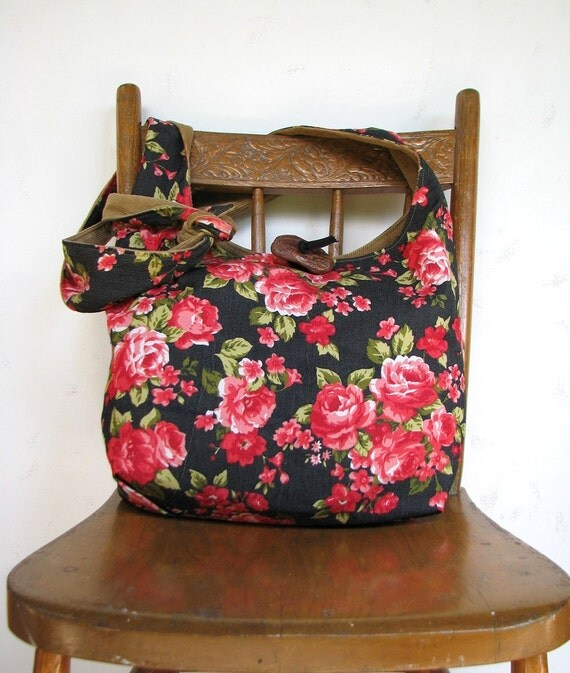 FLORAL HOBO BAG Crossbody Bag Long Strap Hippie Bag Flower Bag