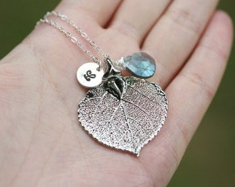 Real aspen Leaf initial Necklace,hand stamped initial and custom birthstone,custom font,Bridesmaid gifts,Wedding Jewelry,Bridal Jewelry Gift