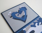 Masculine Valentine or Love Card Note Card Blue and Gray Camoflauge Asymmetric Heart Blank Inside